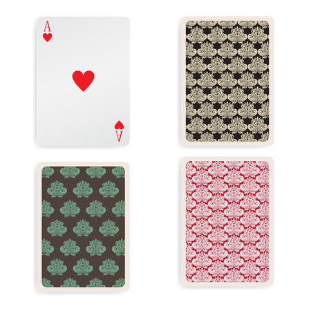 playing card: Vintage ace playing card with pattern back  Illustration