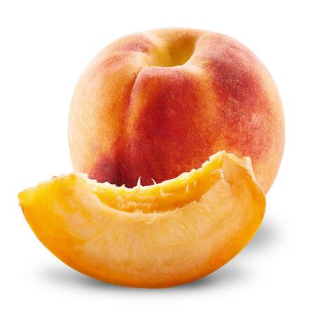Ripe peach fruit isolated on white background cutout  photo