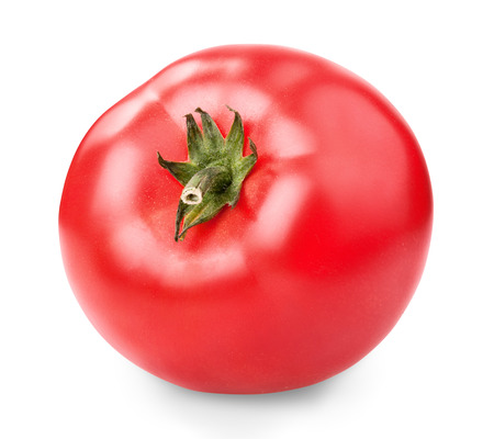one fresh red tomato isolated on white  photo
