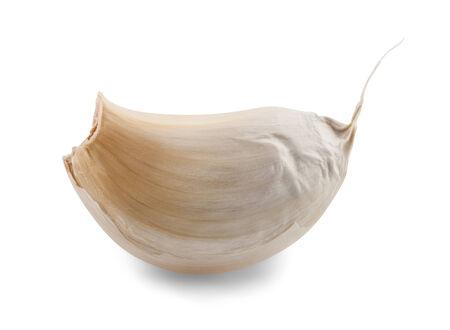 garlic clove: Closeup of clove of garlic over white background  Stock Photo