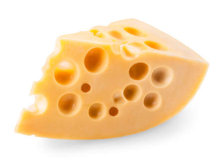 piece of cheese isolated on a white background. Clipping Path photo