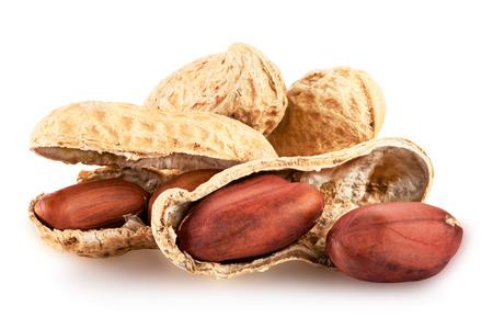 Peanut geïsoleerd op een witte achtergrond close-up. Clipping Path