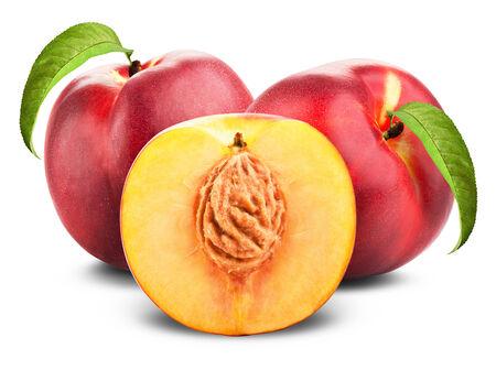 Three ripe nectarine fruits with slices isolated on white background photo