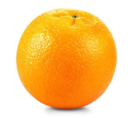 白い背景に熟した新鮮なオレンジ。