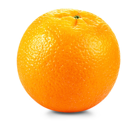 Ripe fresh orange on a white background.  Banco de Imagens