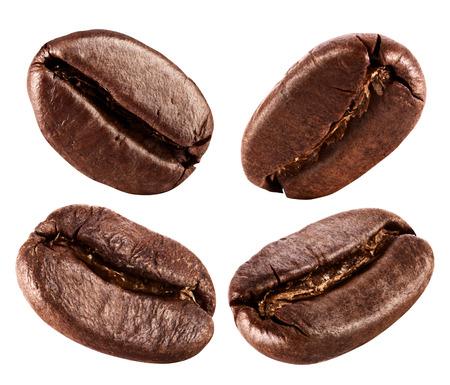 白い背景で隔離のコーヒー豆のコレクション