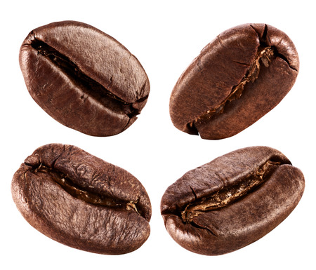 Collection of Coffee beans isolated on white background Banco de Imagens