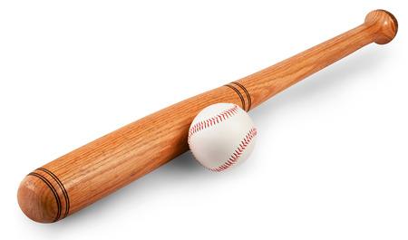 Baseball and baseball bat isolated on white background. Clipping path photo