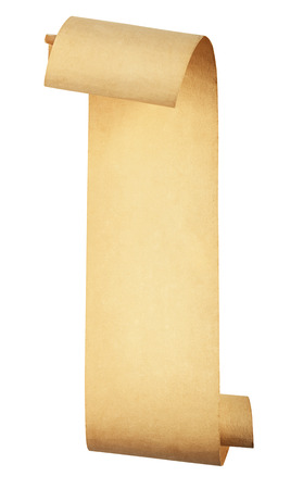 old scroll paper isolated on white background. Clipping Path