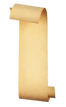 oude scroll papier op een witte achtergrond. Clipping Path