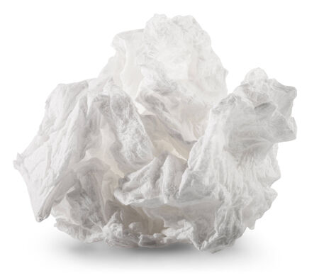 ball lump: crumpled napkin on white background. Clipping Path