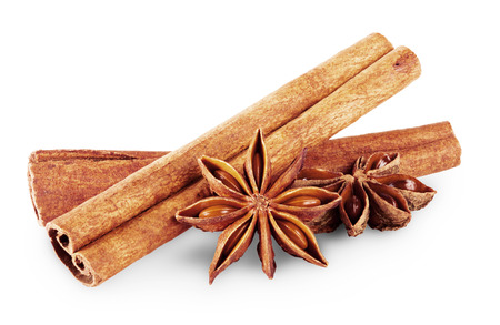 Anise and cinnamon isolated on white background  photo