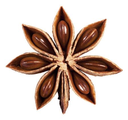 badiane: Star anise isolated on white background. Clipping Path