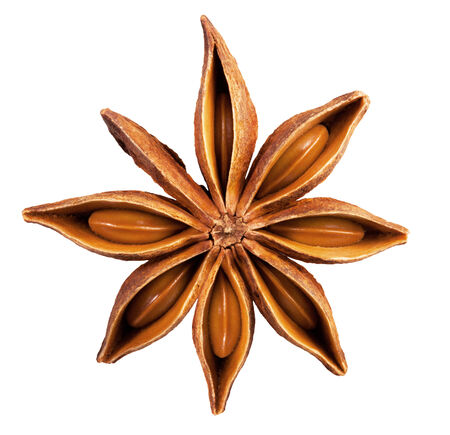 anise: Anise star isolated on a white background. Stock Photo