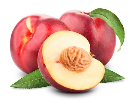 Three ripe nectarine fruits with slices isolated on white background