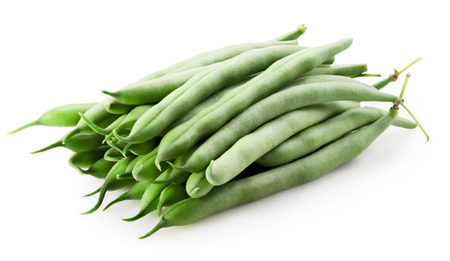 green beans on white background. Clipping Path photo