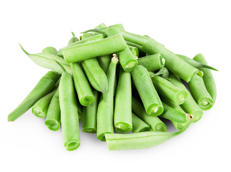 haricot vert: green beans on white background. Clipping Path