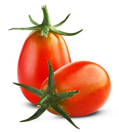 Small cherry tomato on white background