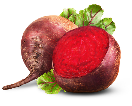 Fresh beetroot with leaves isolated on white background Banco de Imagens