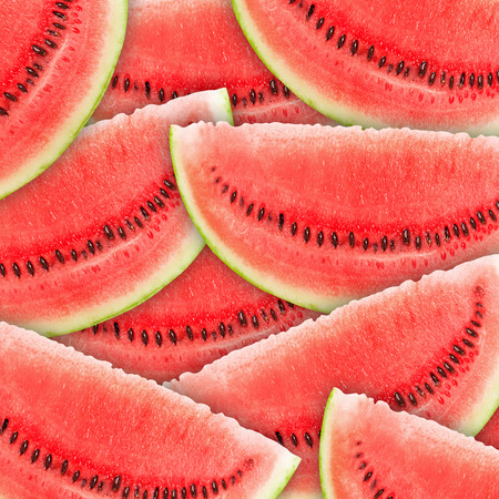 background with slices of fresh ripe red watermelons photo