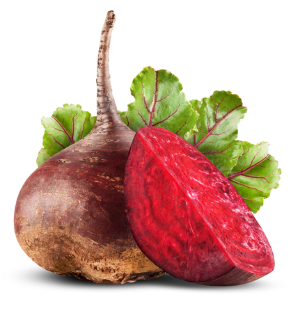 Fresh beetroot with leaves isolated on white background 免版税图像