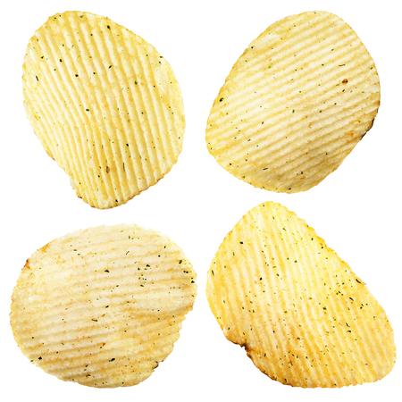 titbits: Set of potato chips on white background