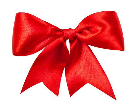 silk bow: Red gift bow. Ribbon. Isolated on white. Clipping Parth