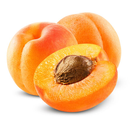 Fresh apricot on white background. Clipping Path