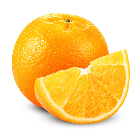 흰색 배경에 고립 된 조각 오렌지 과일입니다. 클리핑 패스 스톡 콘텐츠