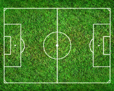 crossbars: soccer field with white lines. top view