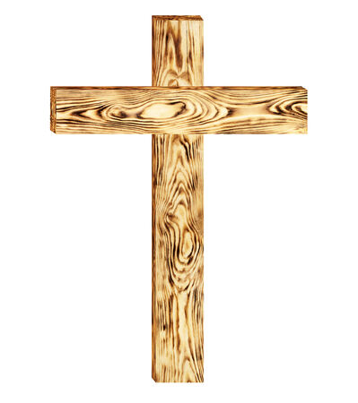 Wooden cross isolated on white background. Clipping Path