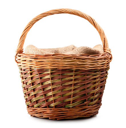 vintage weave wicker basket isolated on white background  Banco de Imagens