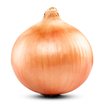 Ripe onion on a white background. Clipping Path