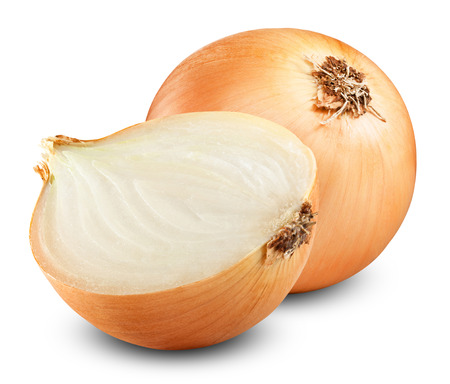 Fresh onion bulbs isolated on white background photo