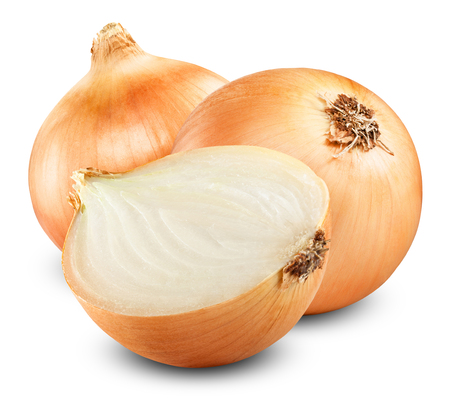 Fresh onion bulbs isolated on white background Stok Fotoğraf