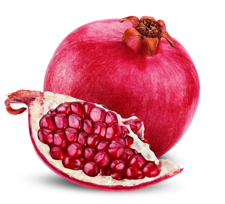 clipping  path: Ripe pomegranate fruit with half isolated on white background. Clipping Path