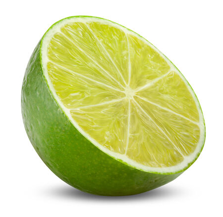 clipping  path: Half of lime citrus fruit isolated on white background with clipping path