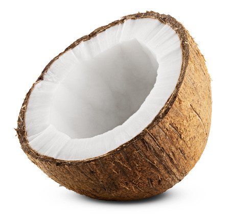 Half coconut isolated on white Background. Clipping Path Stockfoto