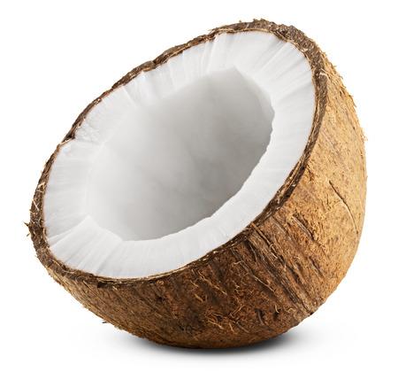 Halve kokosnoot geïsoleerd op een witte achtergrond. Clipping Path