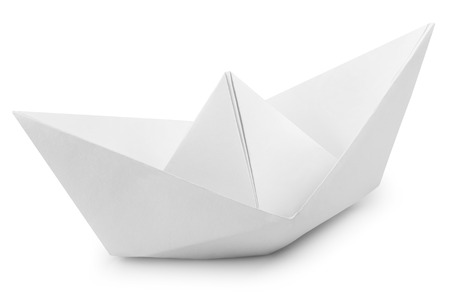 paper boat: Origami White Paper Boat Isolated on White Background. Clipping Path