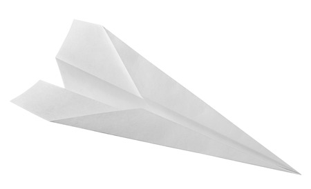 paper airplane: Isolated white paper airplane.