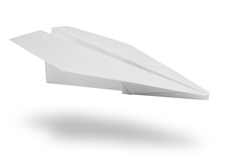 Isolated white paper airplane. Clipping Path photo