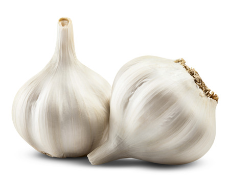 garnishing: garlic isolated on white background. Clipping Path