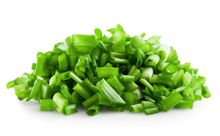 Fresh chopped green onions on a white background. photo