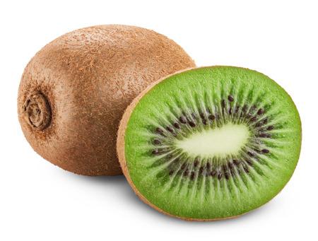 frutas tropicales: Fruta de kiwi aislada en el fondo blanco. Trazado de recorte