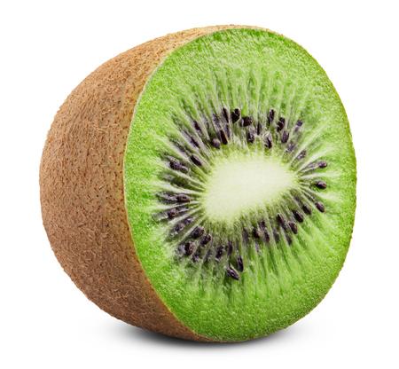 kiwi fruta: Juicy kiwi aisladas sobre fondo blanco. Trazado de recorte