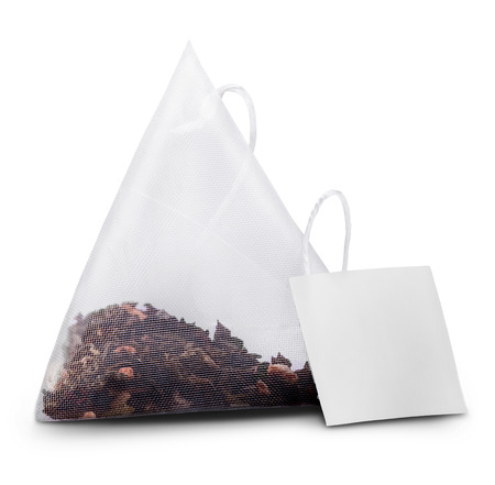 Teabag with label. Isolated on a white. Clipping Path