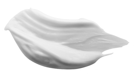 Stroke of White Beauty Cream Isolated on White Background. Clipping Path Stock Photo
