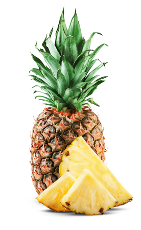 Pineapple slices isolated on white background photo