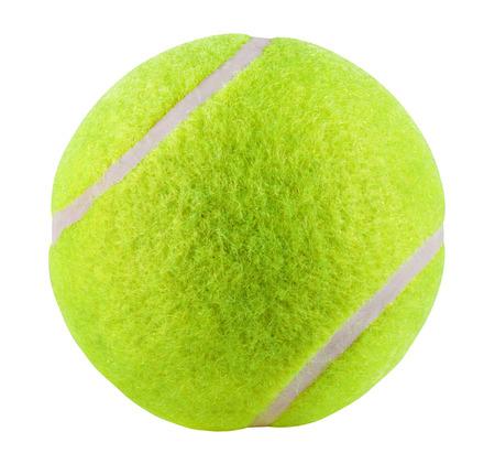 balón: Pelota de tenis aislada en el fondo blanco. Trazado de recorte